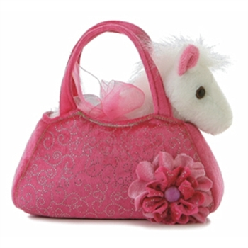 Fancy Pals Plush Pink Pet Carrier with Plush White Horse by Aurora