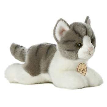 Realistic Stuffed Gray Cat 8 Inch Plush Tabby Cat By Aurora