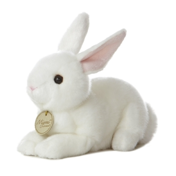 Realistic Stuffed White Bunny 8 Inch Plush Animal by Aurora