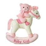 Musical Plush Pink Rocking Horse With Teddy Bear By Aurora
