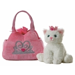 Fancy Pals Plush Pink Pet Carrier with Plush White Cat by Aurora