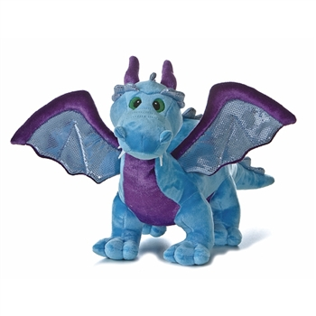 Stuffed Roaring Blue Dragon 14 Inch Plush Animal With Sound By Aurora