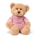 It's a Girl Teddy Bear with Embroidered Pink Shirt by Gund
