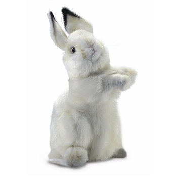 Handcrafted 13 Inch Lifelike Baby White Bunny Stuffed Animal by Hansa