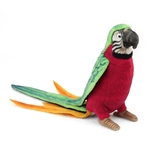 Handcrafted 7 Inch Lifelike Red Parrot Stuffed Animal by Hansa