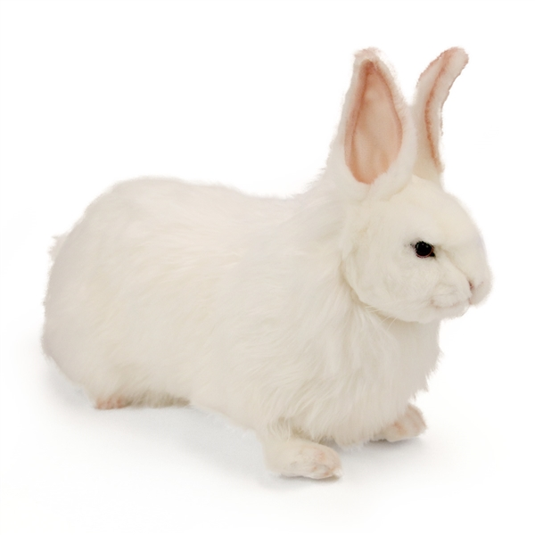Handcrafted 14 Inch Lifelike White Rabbit Stuffed Animal