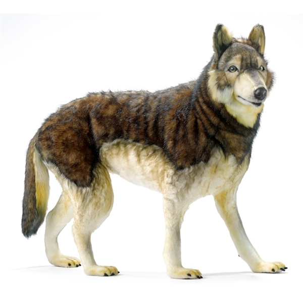 handcrafted 40 inch life size ride on wolf stuffed animal by hansa. Black Bedroom Furniture Sets. Home Design Ideas