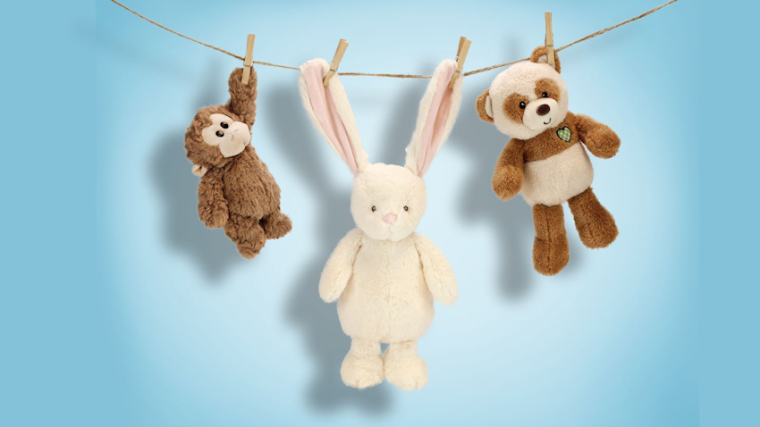 Stuffed Animals Drying on a Clothesline