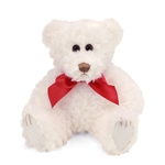 Lil Scraggles the White Teddy Bear with Bow by First and Main